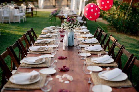 Mesas rústicas banquete